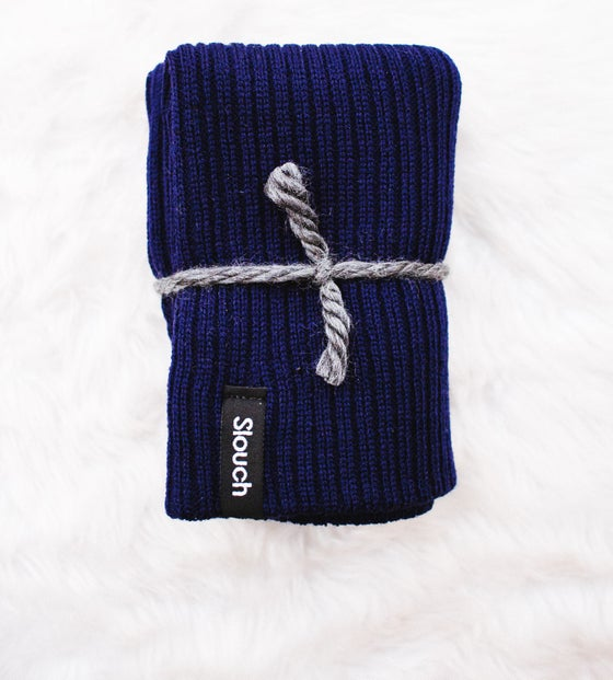 Image of Navy Ribbed Knit Slouch Beanie
