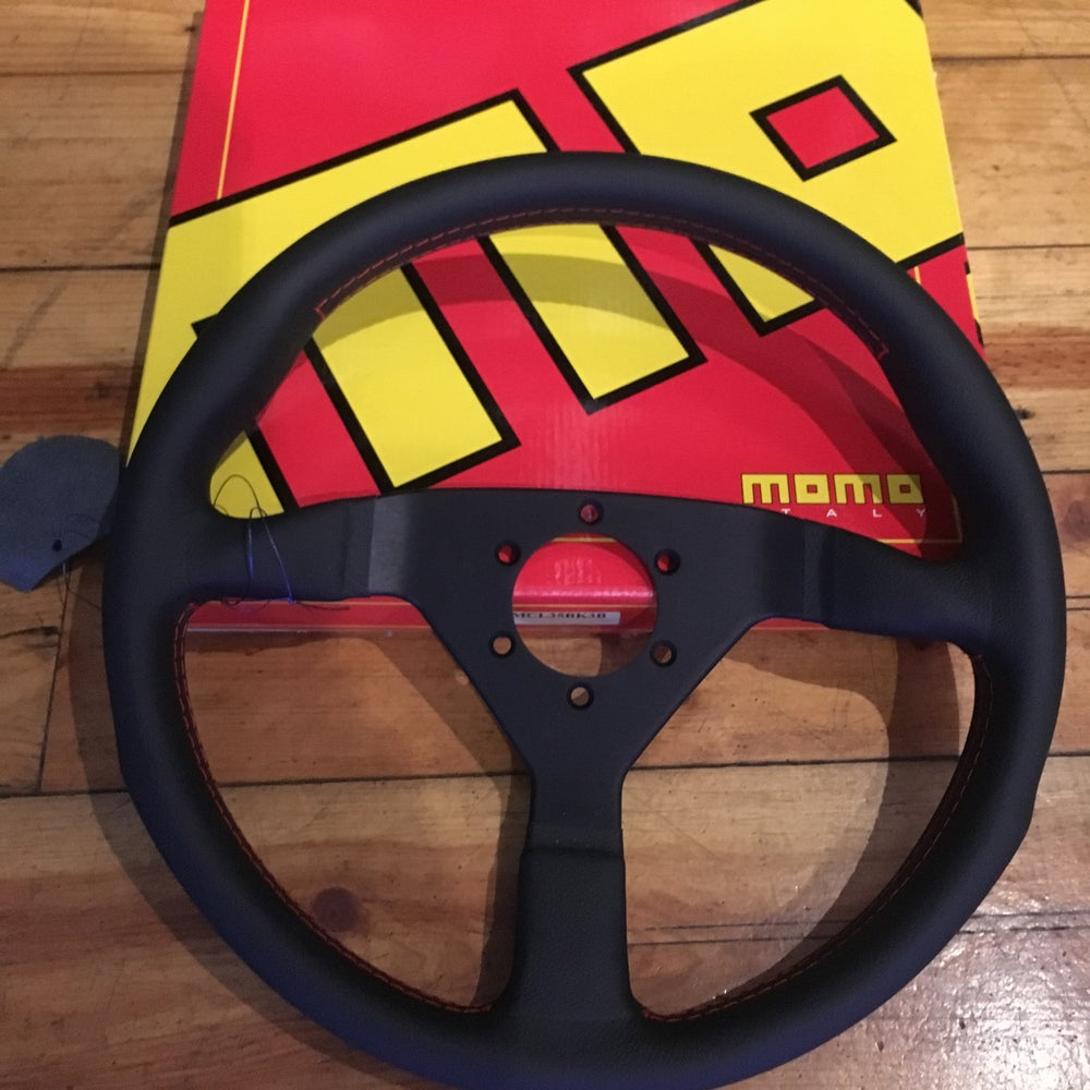 Image of Momo Monte Carlo w/ Red Stitch Steering Wheel - 350mm