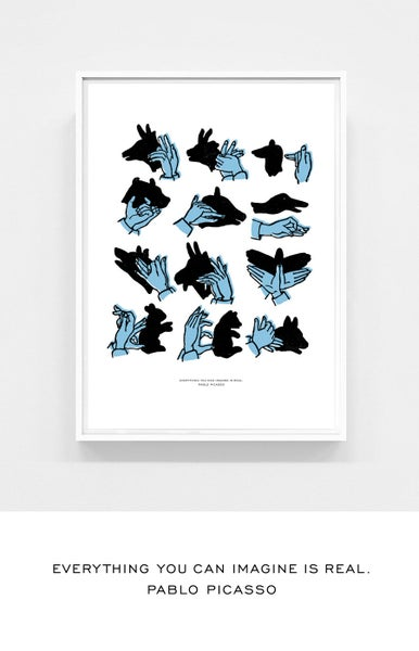 Image of Shadow Puppets blue -- 50 x 70 cm