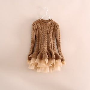 Image of Liv Sweater Dress Brown/Taupe, Tulle Ruffles, Cable Knit, Baby, Toddler, Girl, Holidays