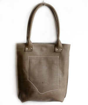 Image of Olive Mud Tone Leather Tote
