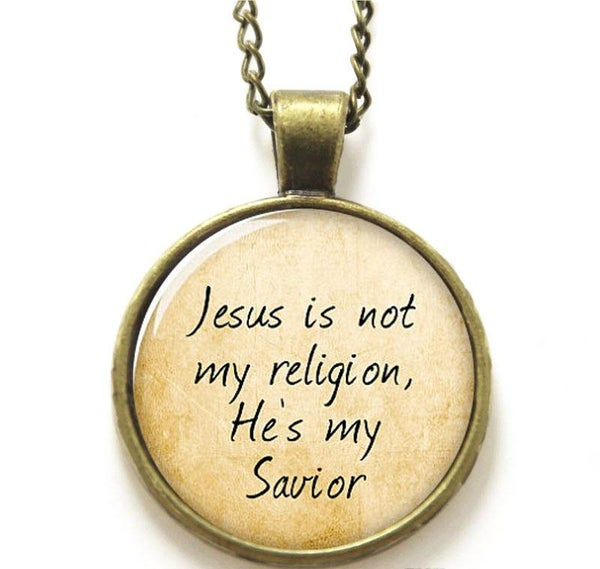 Image of Bronzetone 'Jesus Is My Savior' Necklace