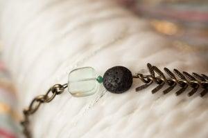 Image of Antique Brass & Fluorite Essential Oil Diffuser Bracelet