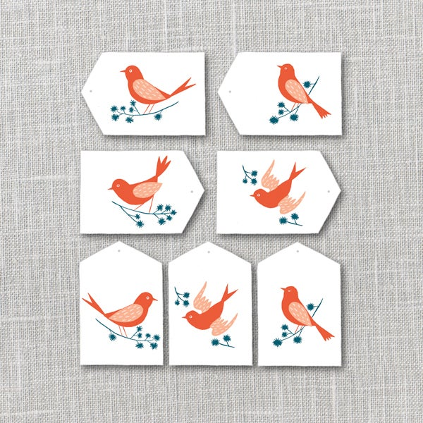 Image of Bright Birds Gift Tags Printable Instant Download PDF