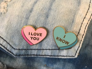 "Image of ""I Love You"", ""I Know"" Conversation Heart Pair Enamel Pin Set"