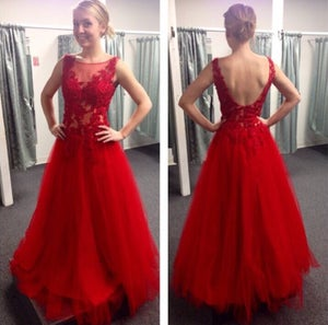 Image of Red Tulle A Line V Back Prom Gown With Lace Appliques Bodice