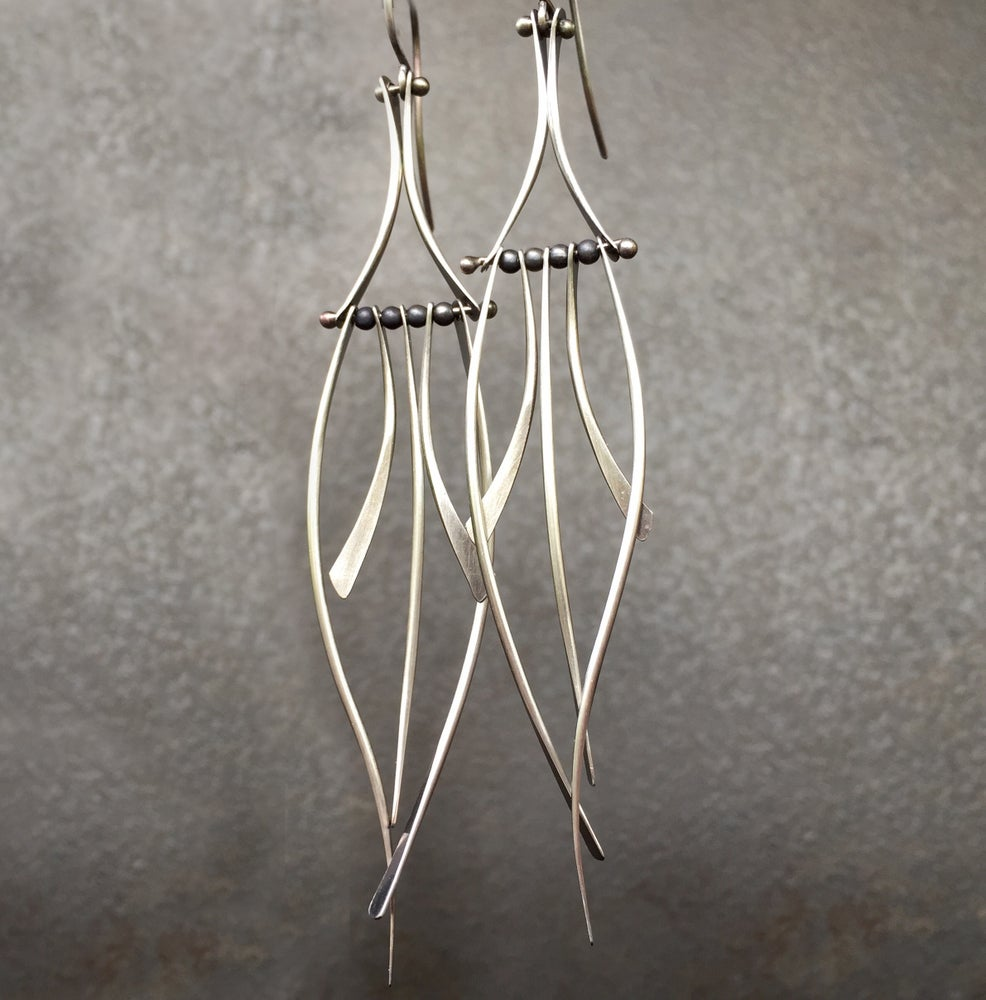 Image of Calligraphy Leaf Earring Silver