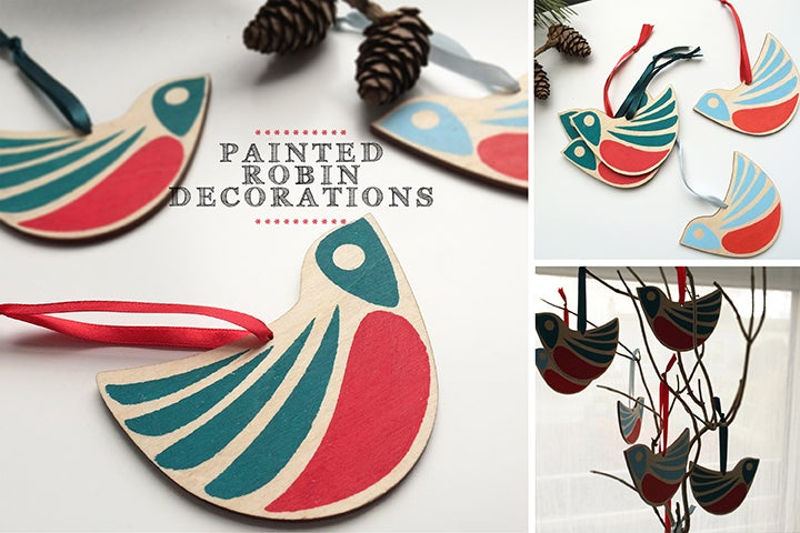 Image of Wooden Robin Decorations