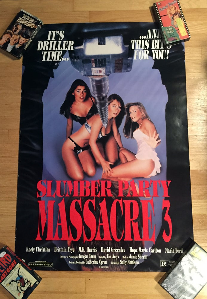 Image of 1990 SLUMBER PARTY MASSACRE 3 Origianl U.S. One Sheet Movie Poster
