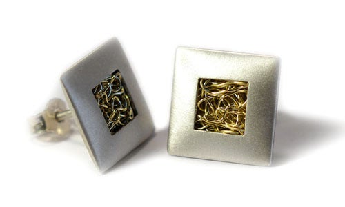Image of Square Cushion Earrings With Woven Wire