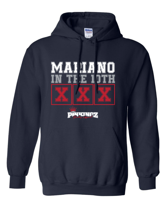 Image of Pinkingz Bowling Hoodie - Mariano in the 10th! || Navy Blue w/ Red, White, Grey