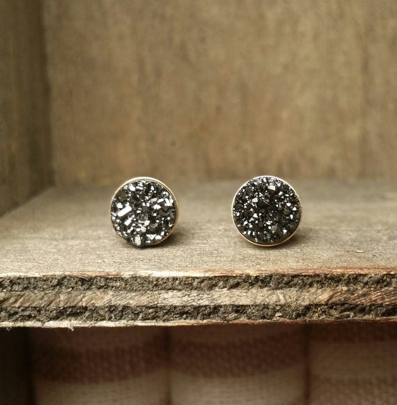 Image of Black Titanium Druzy Earrings