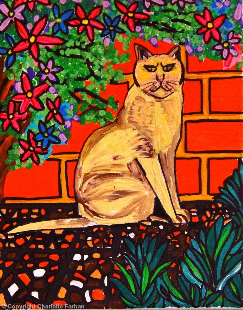 Image of Cat Among The Flowers - Original Painting By Charlotte Farhan
