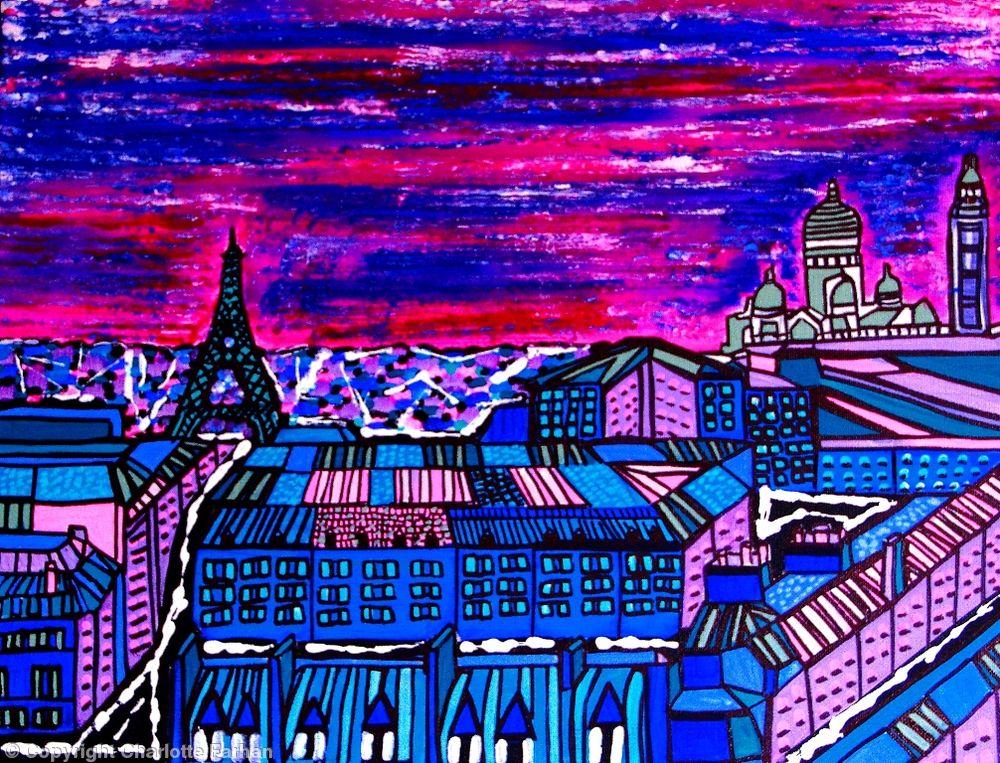 Image of Paris at Dawn - Original Painting By Charlotte Farhan
