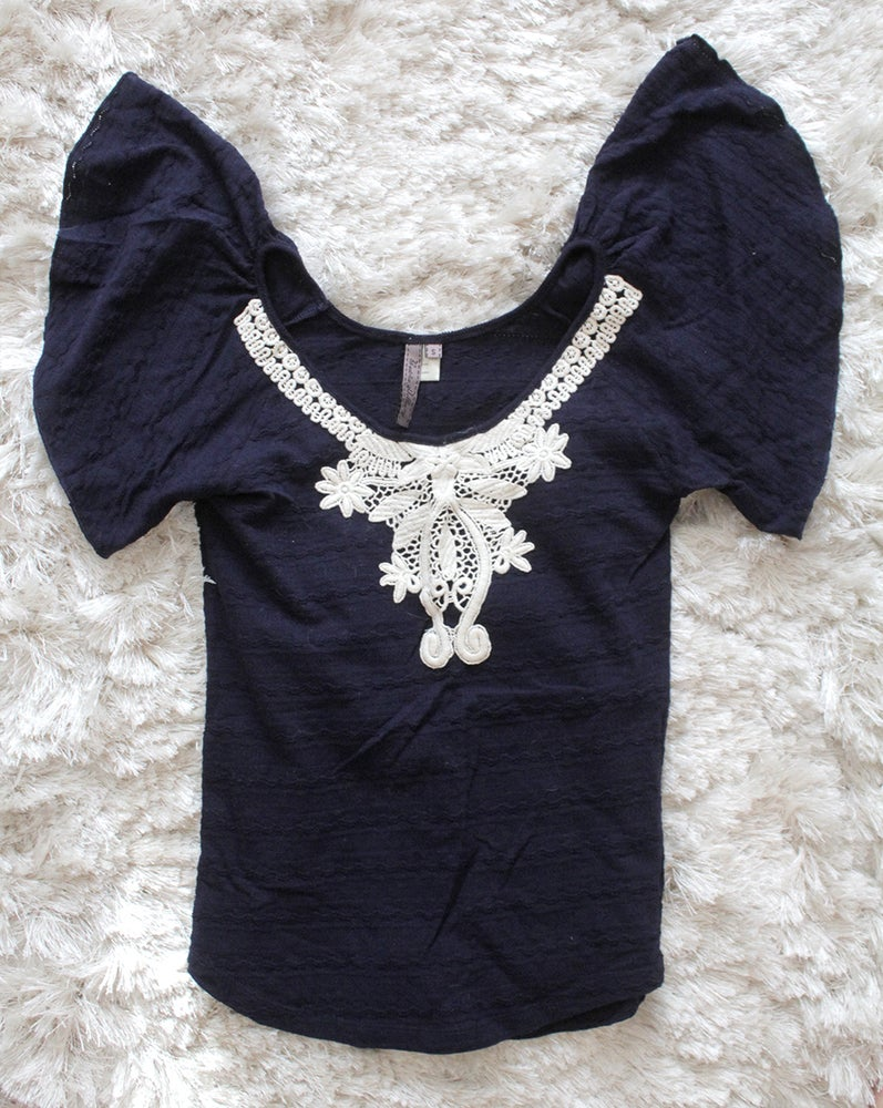 Image of Navy Angel Sleeve Top