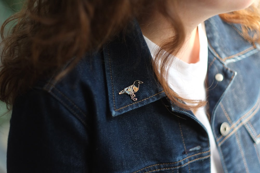 Image of Crow Floret Enamel Pin - THEYRE BACK!