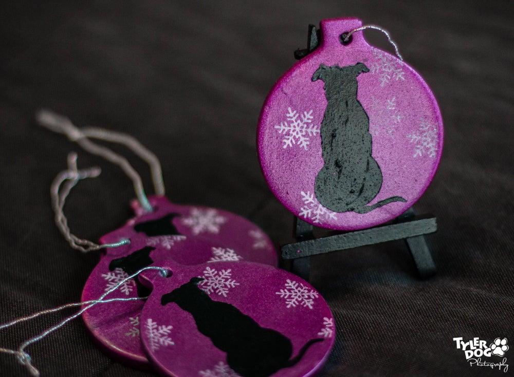 Image of 2016 Pit Bull Ceramic Christmas Ornament [purple]