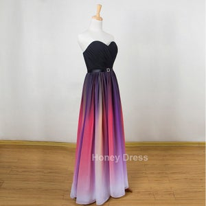 Image of Gradient Color Chiffon Sweetheart Beach Pleats Floor Length Evening Dresses, Ombre Elie Prom Dresses