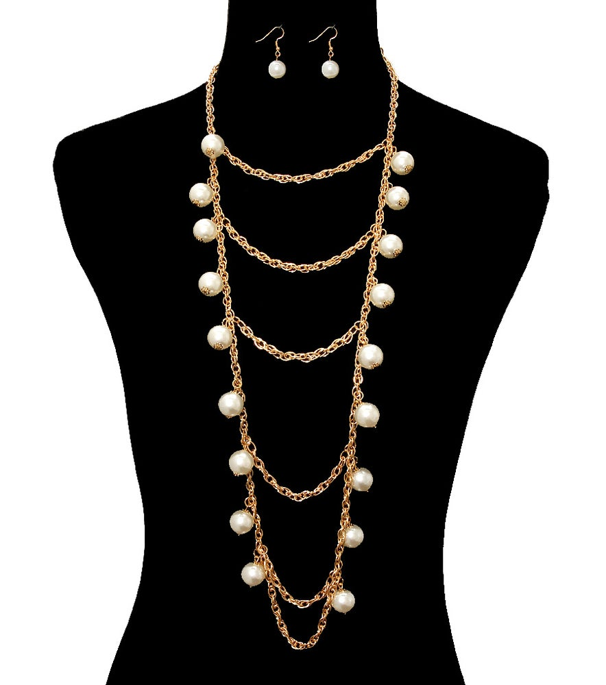 Image of Dangling Pearl Necklace Set