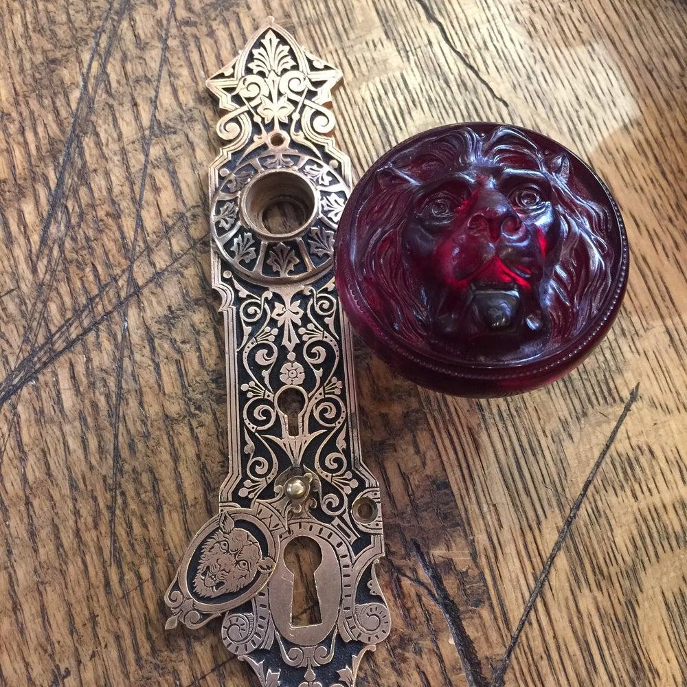 Image of Special Edition Lion Door Knob & Ornate Door Plate