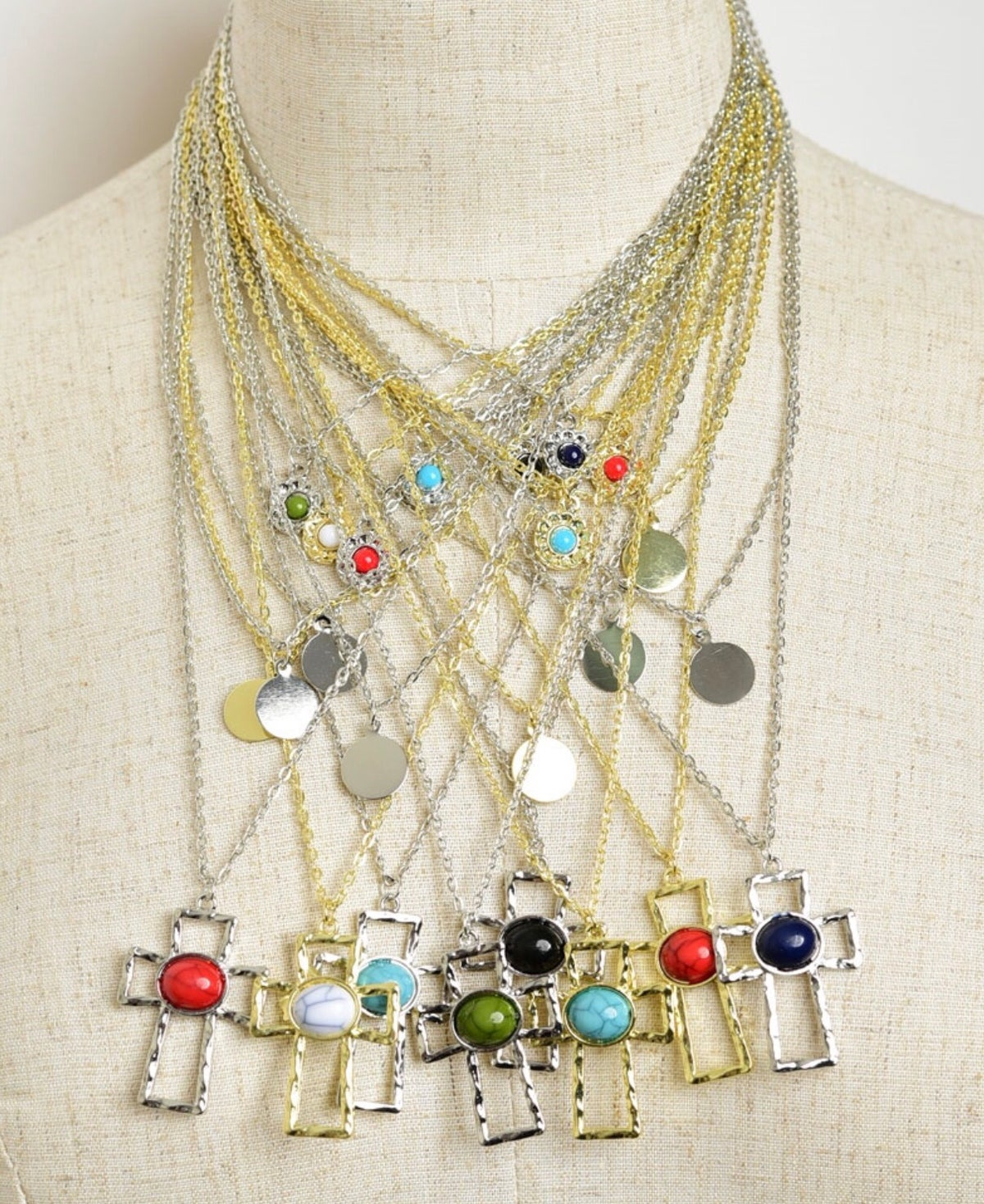 Image of Triple Chain Cross Necklace