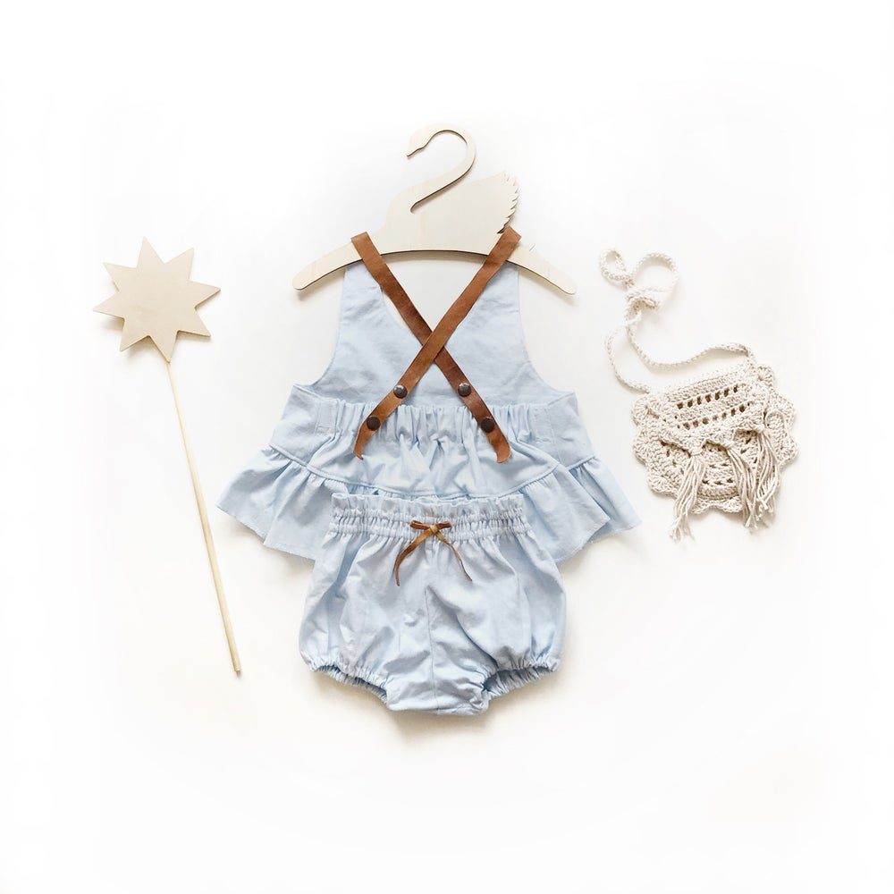 Image of frilly crop + bloomer set in 'soft blue'