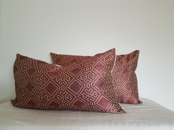 Image of Tsehai Red Lumbar Pillow Cover