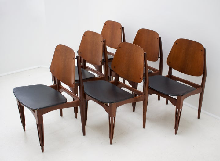 Image of Italian Dining Chairs with Carved Legs, 1950s