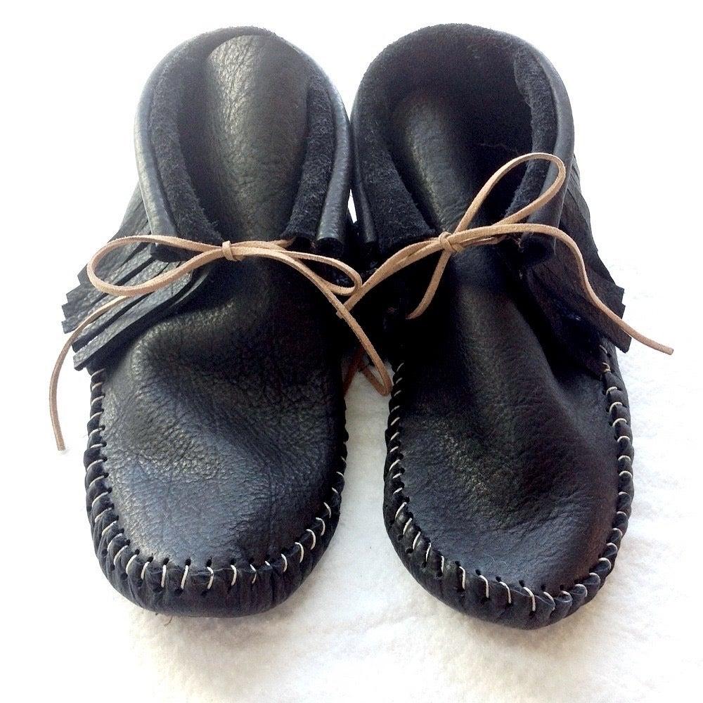 Image of Handmade Moccasins (Black)
