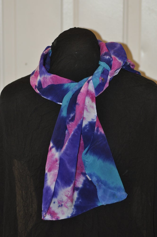 Image of Purple, Fuschia, and Turquoise diagonal stripe scarf