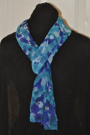 Image of Hand Dyed Silk Chiffon Scarf in Shades of Blue
