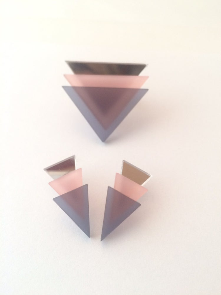 Image of Set 3Tria grey pink mirror