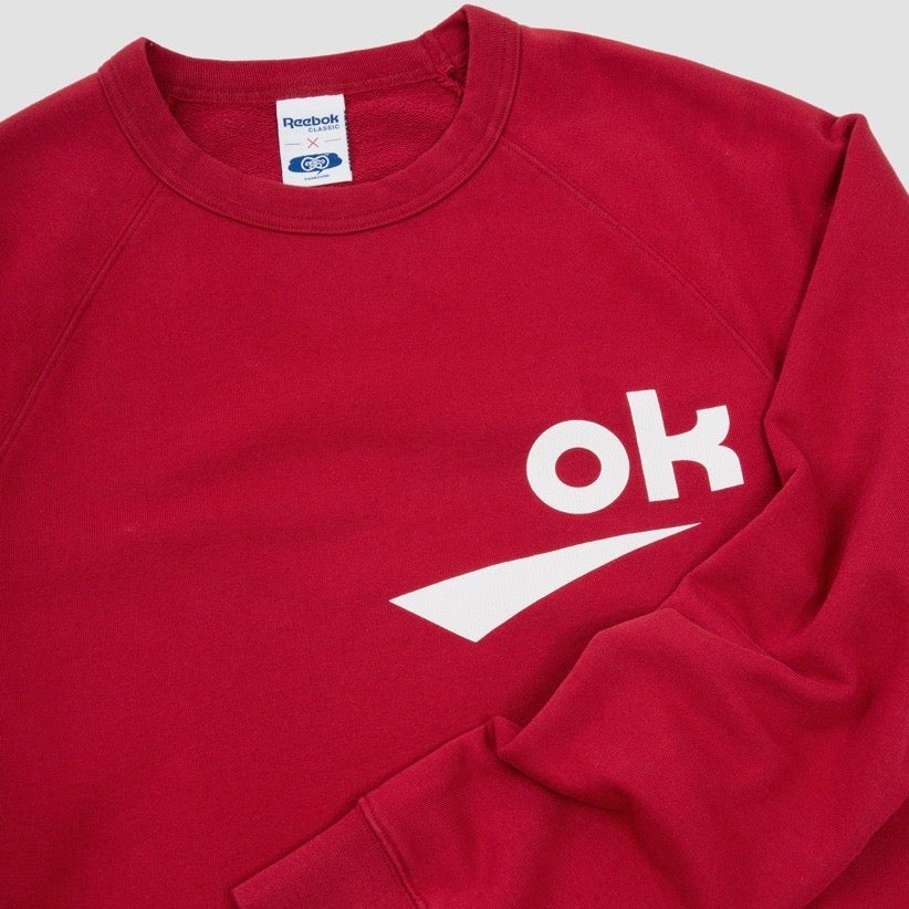 Image of Reebok X Garbstore OK Crew Neck 3M Sweatshirt Red & White