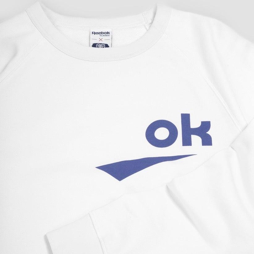 Image of Reebok X Garbstore OK Crew Neck 3M Sweatshirt White & Blue
