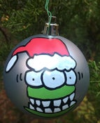 Image of Hand Painted Christmas Ball. Green Elf, red hat (no pipe) (FREE SHIPPING)