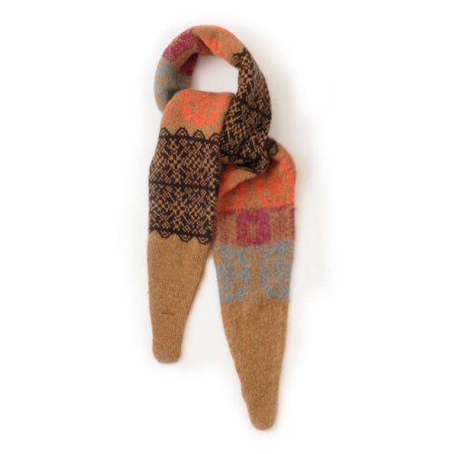 Image of Multi Rose Pointy Scarf in Brown Mix