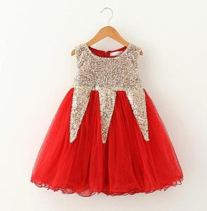 Image of Dalia Red Glitter Sequined Holiday Dress, baby, toddler, girl, Christmas, photos