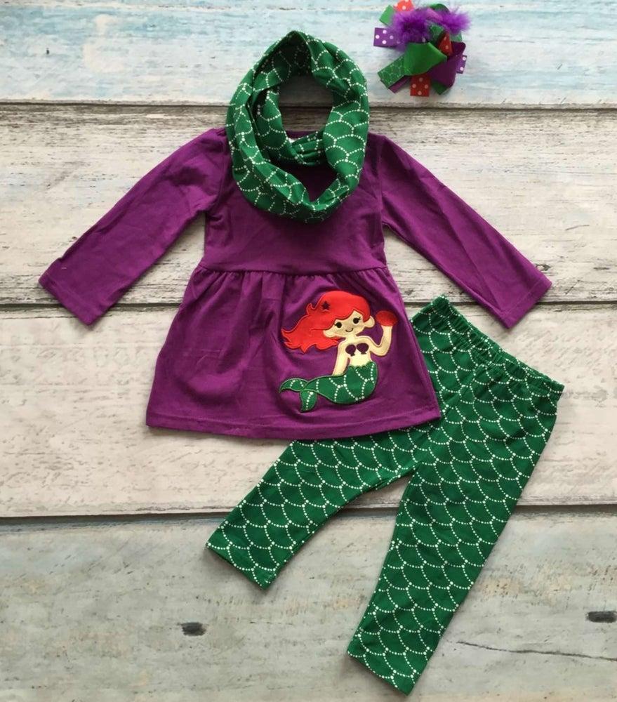 Image of Purple Mermaid three piece legging set with scarf, baby, toddler, girl