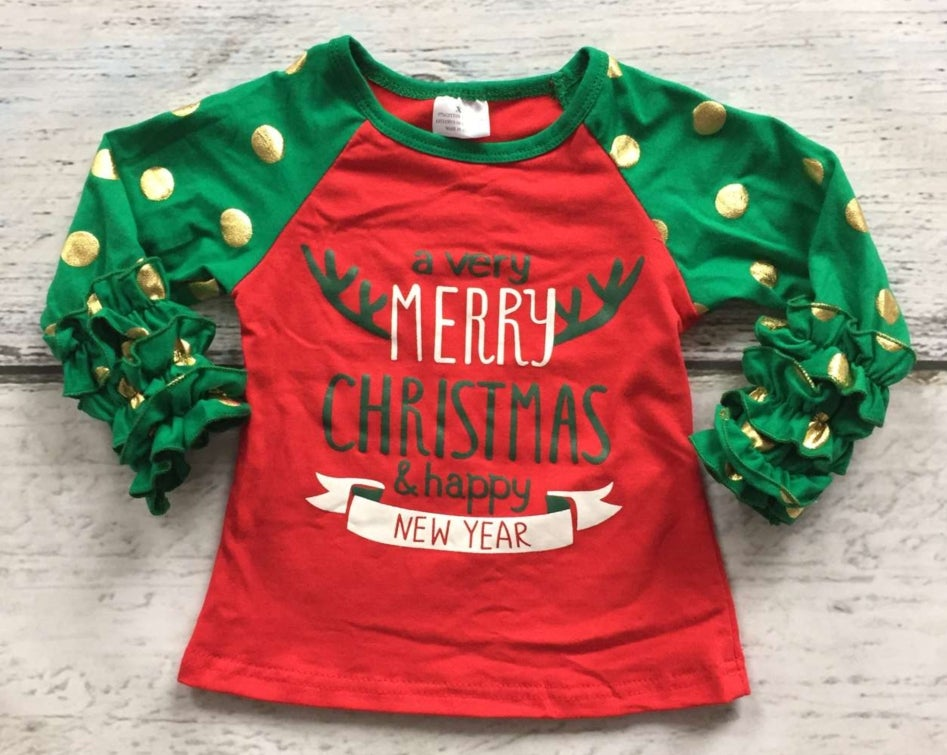 Image of Merry Christmas and Happy New Year Shirt, baby, toddler, girl, photos