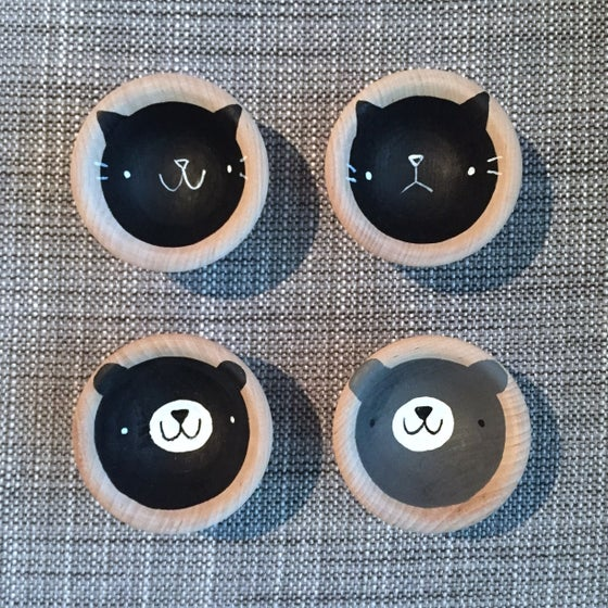 Image of bear & cat face bowls