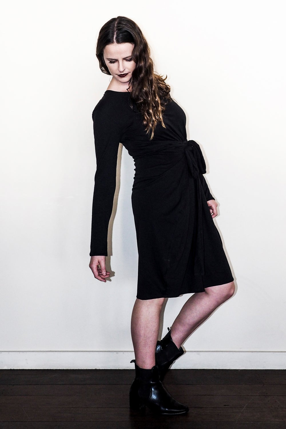 Image of The Winter Ribb Dress - Organic Black Cotton