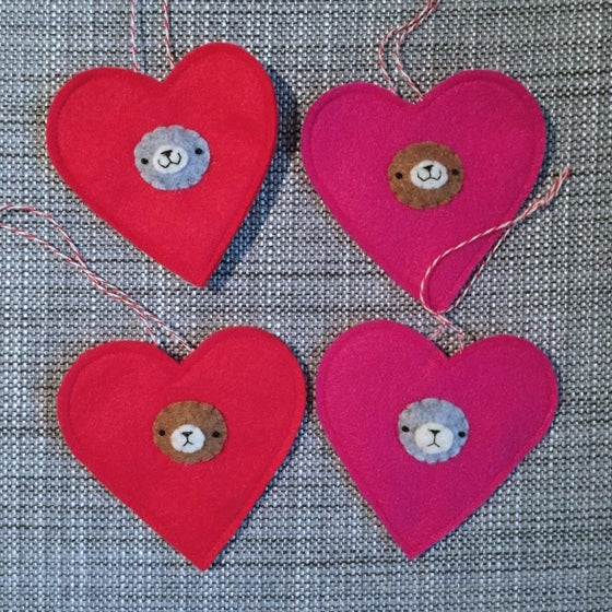 Image of incognito bear heart ornament (made to order)