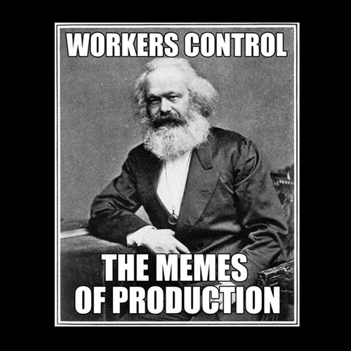 Image of Workers Control the Memes of Production men's black tee
