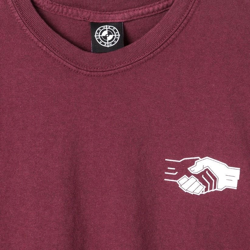 Image of Powers Handshake T-Shirt Maroon