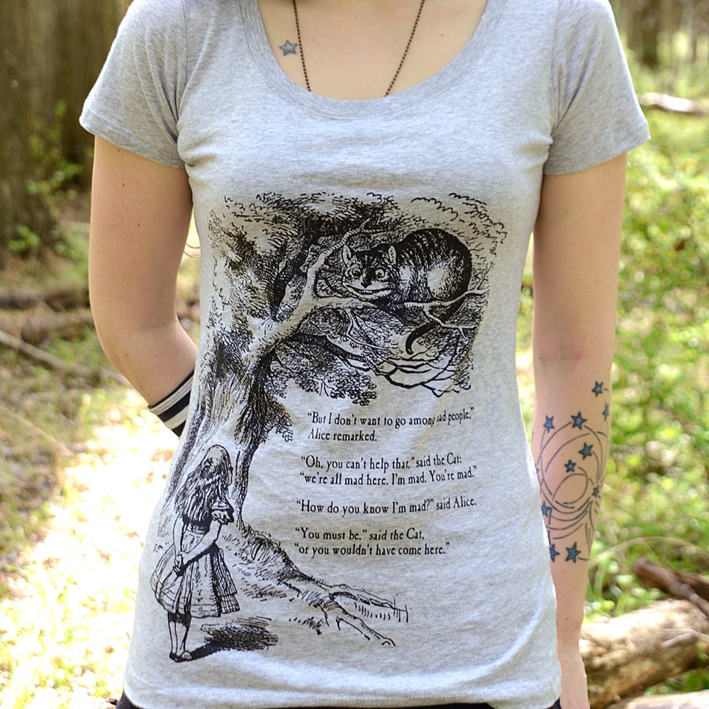 Image of Alice Cheshire Cat ladies heather scoop neck tee and men's crewneck tee