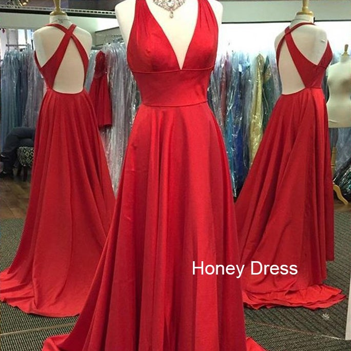 Image of Red Satin Deep V Neck Cross Back Long Prom Dress, A Line Sweep Train Evening Dress With Open Back