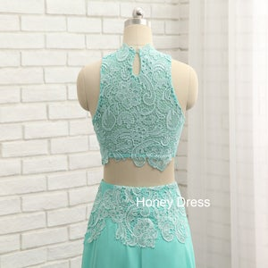 Image of Mint Chiffon Lace Bodice Two-Piece High Neck Illusion Floor Length Prom Dress, Party Dresses