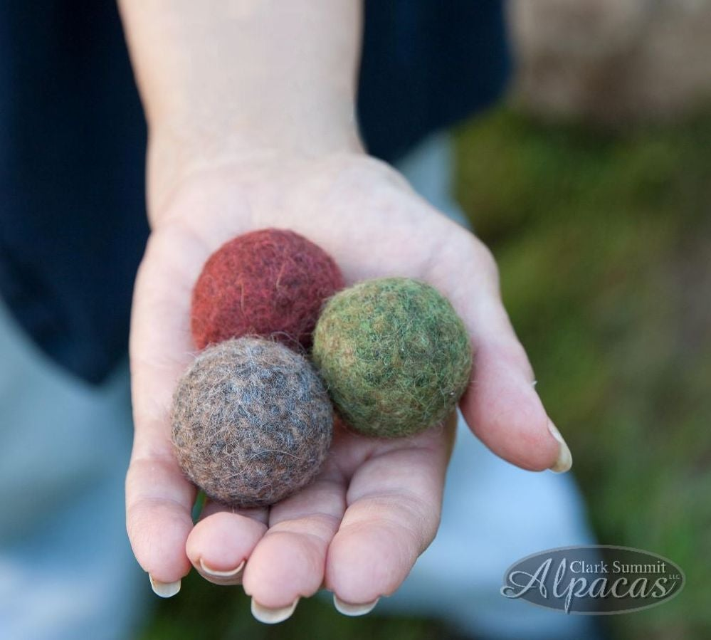 Image of Felted Cat Balls Kitty Toy Natural Alpaca Wool Bell Inside Green Burgendy Grey Fawn Eco Friendly