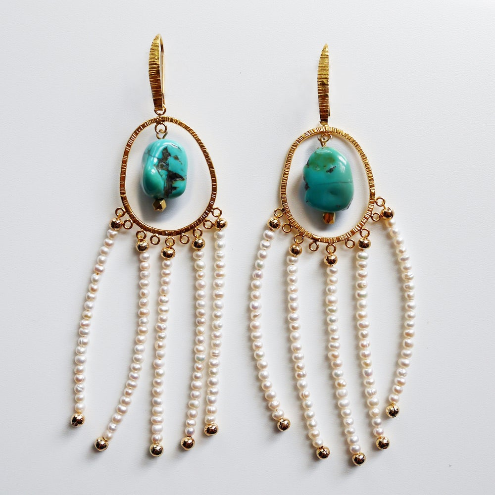 Image of Amilla Earrings (Turquoise/White Pearl)