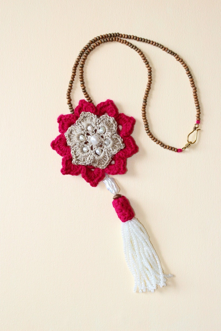 Image of White Freshwater Pearl Tassel Necklace